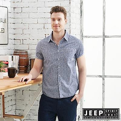 JEEP復古滿版印花紋短袖襯衫-深藍