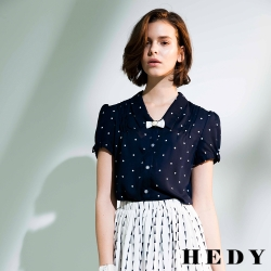 Hedy赫蒂 點點打褶袖口蝴蝶結襯衫(共二色)