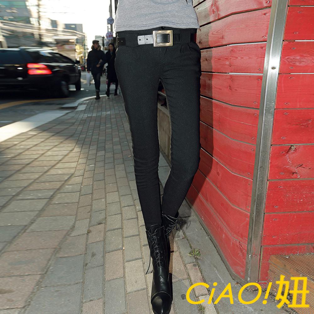CiAO妞 百搭附皮帶顯瘦加絨窄管褲 (黑色)