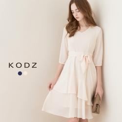 東京著衣-KODZ 七分袖飄逸荷葉洋裝-S.M(共二色)