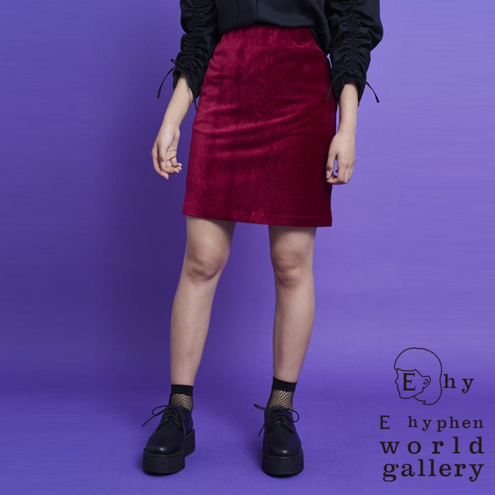 E hyphen 素色直紋後拉鍊設計燈心絨窄身裙