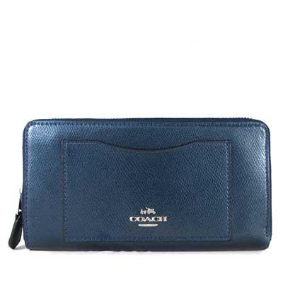 COACH 馬車Logo鵝卵石紋防刮皮革ㄇ型拉鍊前袋式長夾(星光藍色)