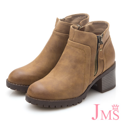 JMS-質感簡約百搭素面粗跟踝短靴-棕色