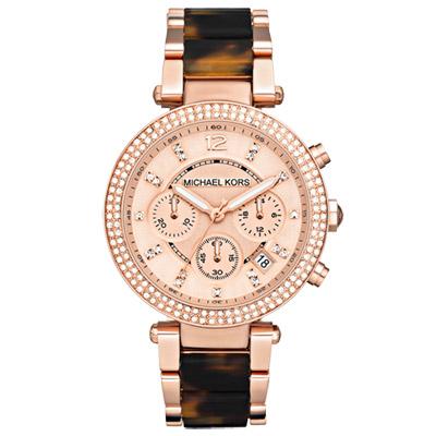 Michael Kors Parker 璀璨迷漾晶鑽三眼玻麗腕錶-玳瑁玫瑰金/39mm