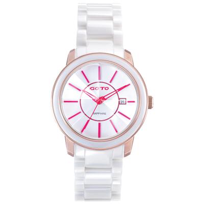 GOTO 冒險輕盈時尚腕錶-IP玫x紅刻度/39mm