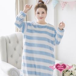 保暖睡衣 晴天暖雲 法蘭絨一件式連身長袖居家服(白藍F) AngelHoney天使霓裳