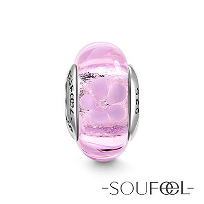 SOUFEEL索菲爾 925純銀珠飾 穆拉諾 茉莉花 琉璃珠