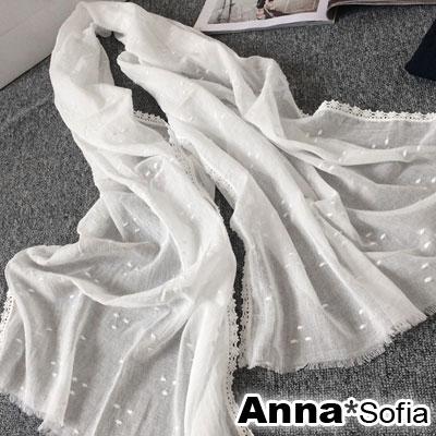 AnnaSofia-輕透純白繡點-蕾絲滾邊流蘇鬚圍巾