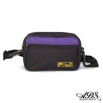 ABS愛貝斯 台灣製造 輕量防潑水旅行兩用式腰包 側背包(黑/紫)704