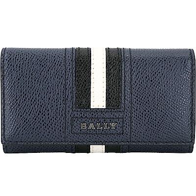 BALLY TALTOS 經典黑白條紋防刮皮革鑰匙包(海水藍)