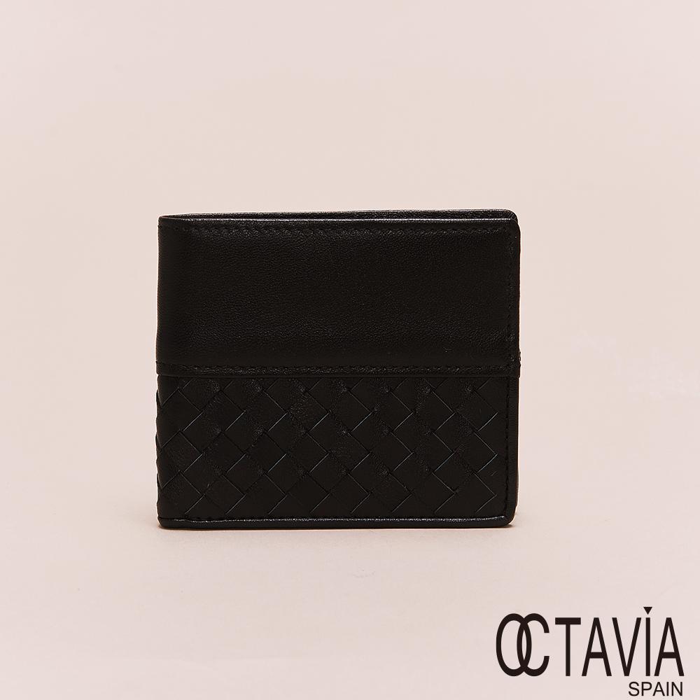 OCTAVIA8真皮 - 男仕系列 頂級羊皮1/2編織二折短夾 - 素雅黑