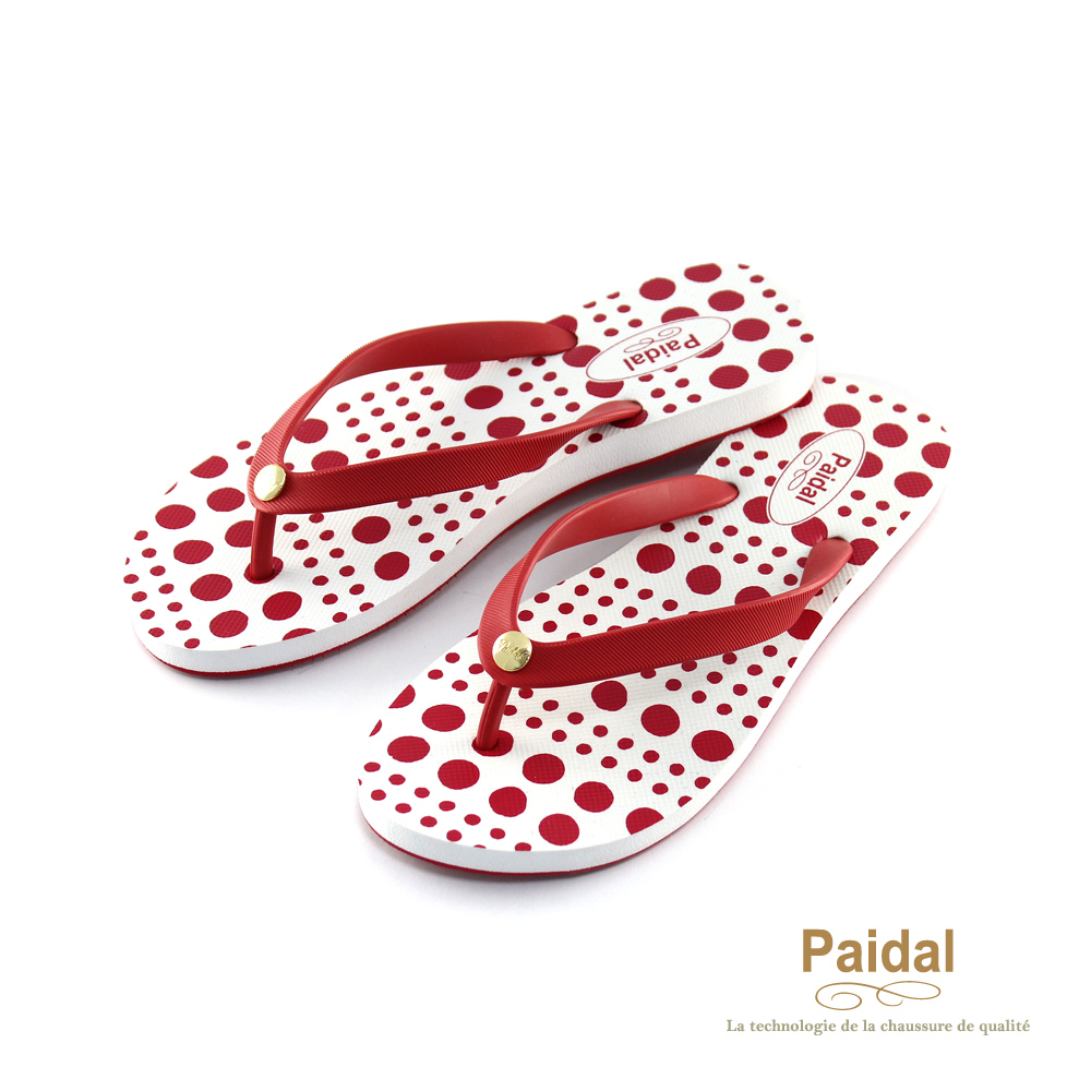 Paidal 幾何大小圓點人字拖夾腳拖海灘拖鞋-紅
