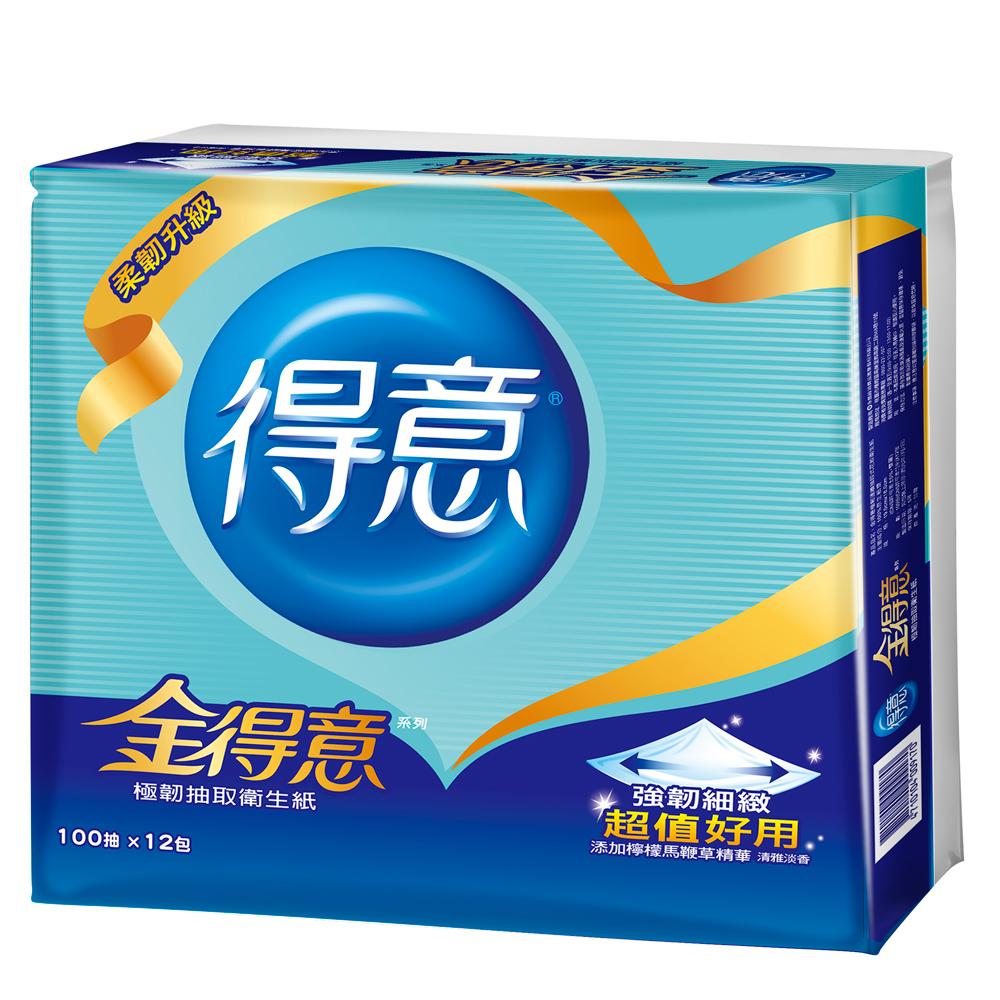 金得意極韌連續抽取式花紋衛生紙100抽 x12包/袋