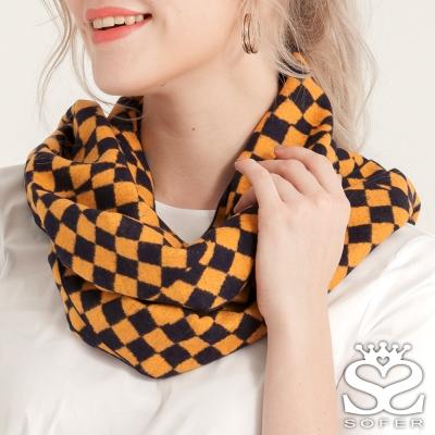 SOFER-魔術方塊蠶絲保暖圍巾-黃黑格-快