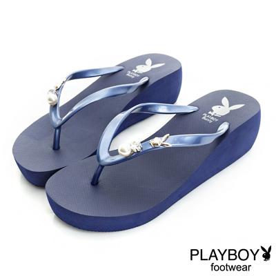PLAYBOY迷人嬌點 水鑽珍珠厚底夾腳拖鞋-藍(女)