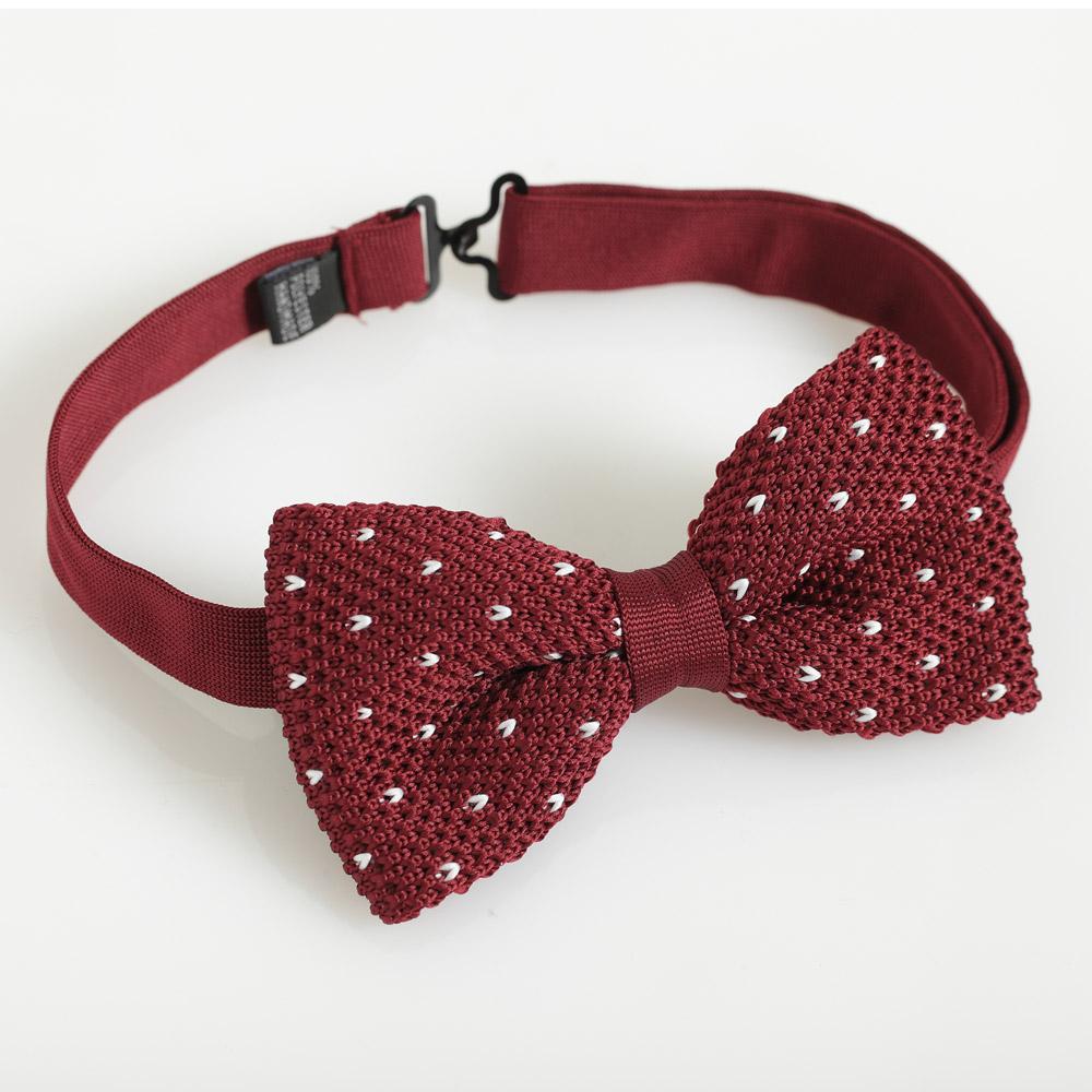 極品西服 造型百變‧點點針織領結_深紅 (YC022)