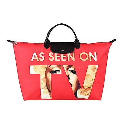 LONGCHAMP X JEREMY SCOTT聯名系列瑪麗蓮夢露印花短把旅行袋(大/紅)