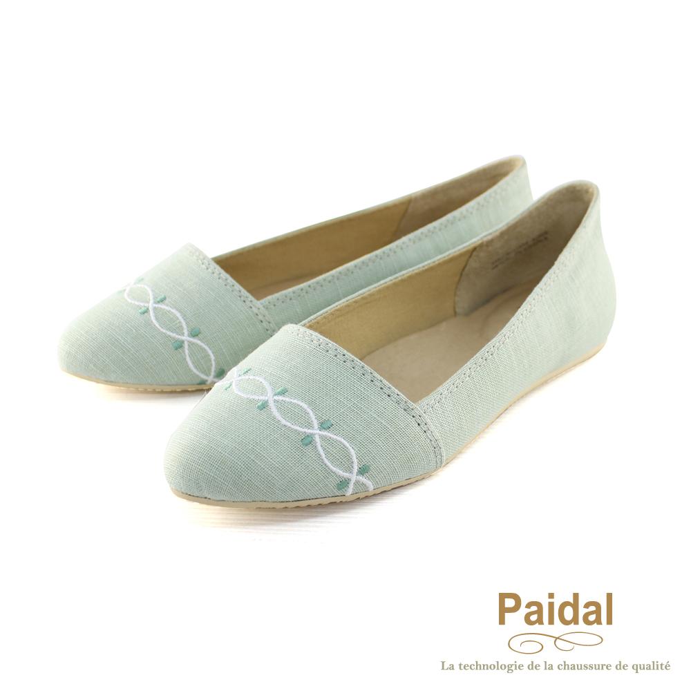 Paidal 優雅水波紋棉麻款尖頭包鞋尖頭鞋-綠