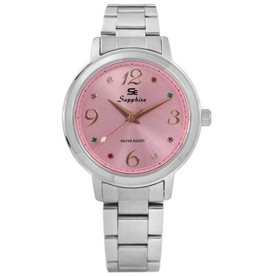 Sapphire 光芒耀眼彩色晶鑽藍寶石水晶不鏽鋼手錶-粉紅色/31mm
