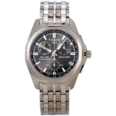 TISSOT PRC100 極速三眼鈦金腕錶-銀黑