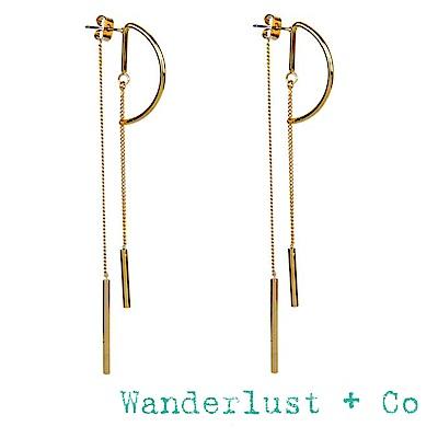 Wanderlust+Co 金色圓形耳環 平衡骨前後扣垂墜式耳環 CIRCA DROP