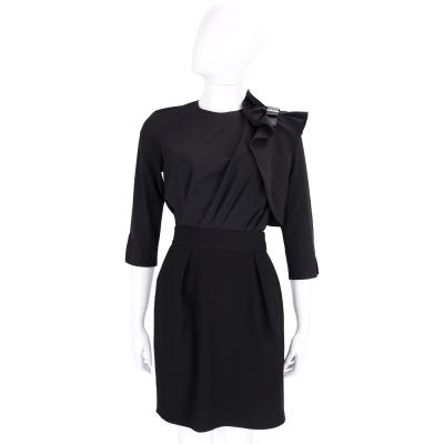 ELISABETTA FRANCHI 可拆式 雪紡抓摺蝴蝶結飾黑色拼接七分袖洋裝
