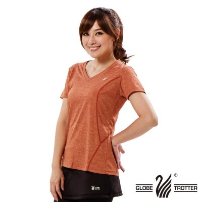 【遊遍天下】女款彈性吸排速乾V領衫GS20006桔色