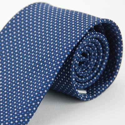Alpaca 白圓藍方領帶