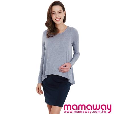 孕婦裝-哺乳衣-假兩件修身顯瘦孕哺洋裝-共二色-Mamaway
