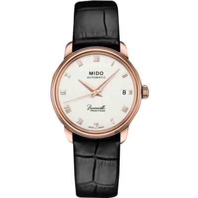 MIDO美度 Baroncelli III 羅馬機械女錶-銀x玫塊金框x黑色錶帶/33mm