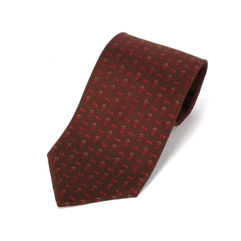TRUSSARDI 碎雙菱圖領帶-深咖/紅
