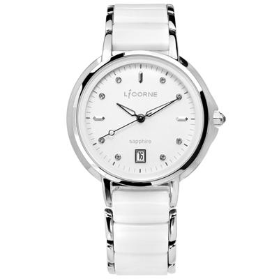 LICORNE力抗 晶鑽刻度日期藍寶石水晶防水不鏽鋼陶瓷手錶-銀白色/36mm