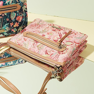 LiliO   側背包   非洲花卉彩繪印花  Flat Shoulder Bag Powd