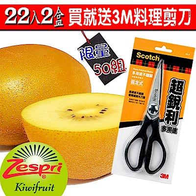 (買一送一)【愛蜜果】紐西蘭黃金奇異果特大22入(共2箱)加送3M料理剪刀