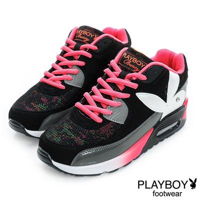 PLAYBOY-城市嬉遊-潮流豹紋氣墊休閒鞋-黑桃-女