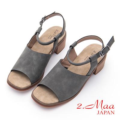 2.Maa-摩登復古磨砂牛皮粗跟涼鞋-灰
