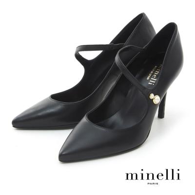 Minelli--西班牙製造 全真皮珍珠飾扣尖頭高跟鞋-沉穩黑