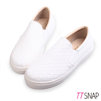 TTSNAP厚底樂福鞋-MIT素面皮革編織真皮休閒鞋 白