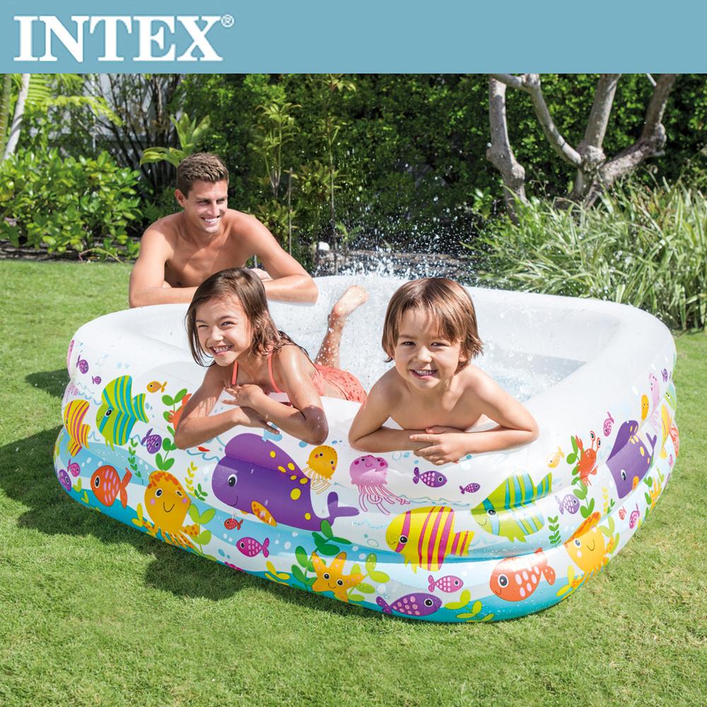 INTEX 海底動物方型戲水泳池159x159x50cm(340L)3歲+(57471N)