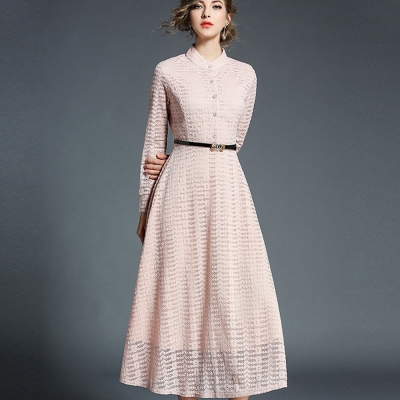 ABELLA 艾貝拉 淺色小花點蕾絲排扣附皮帶洋裝(二色/M-2XL)