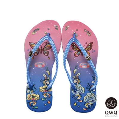 QWQ夾拖的創意(女)-蝶之花夾腳拖-藍