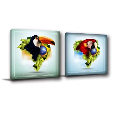 24mama掛畫-二聯無框圖畫藝術家飾品掛畫油畫-叢林鳥-30x30cm