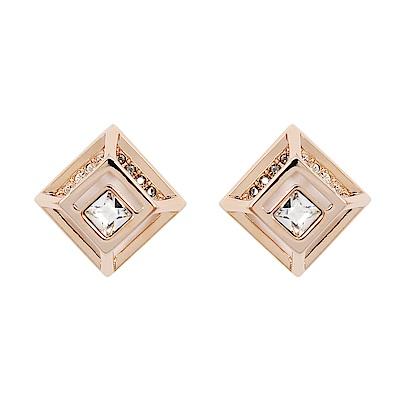 SWAROVSKI 施華洛世奇 璀璨黑白水晶立體鏤空菱形玫瑰金耳環