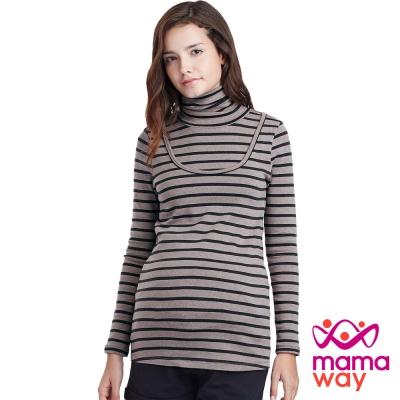 Mamaway 高領橫紋孕婦裝.哺乳衣(共四色)