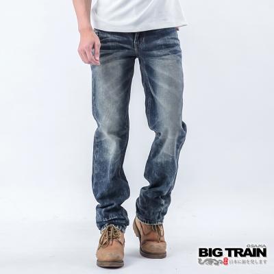 BIG TRAIN 亂髮骷髏小直筒褲-男-淺藍