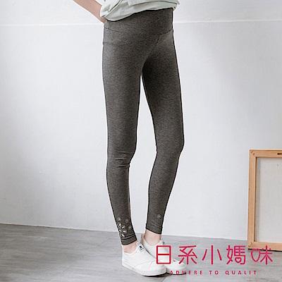 日系小媽咪孕婦裝-孕婦褲~褲管造型鏤空繡花內搭褲 M-L (共二色)