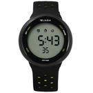 JAGA 捷卡  電子運動計時鬧鈴冷光照明透氣矽膠手錶-黑螢光黃色/43mm