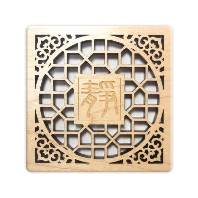 T-Collection - 古典花窗格 楓木 客製化 雕刻杯墊【靜】- 雙入