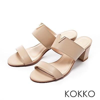 KOKKO-優雅小姐V領高跟真皮涼拖鞋-曼妙杏