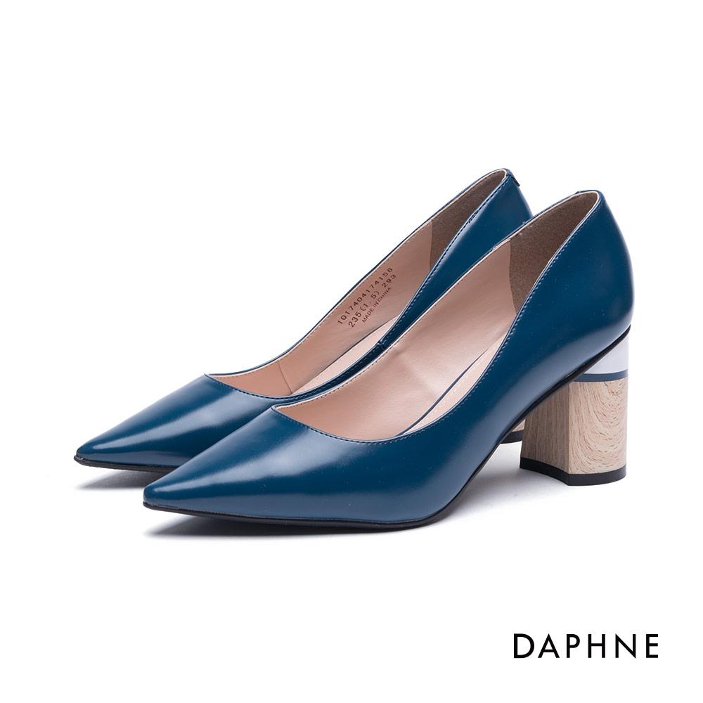 達芙妮DAPHNE 高跟鞋-撞色亮面尖頭粗跟高跟鞋-湖藍